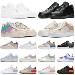 ingrosso applique con laccio-air force af1 airforce forces shadow react scarpe casual triple nero bianco Chaussures Be True Skeleton Worldwide womens mens trainer sneakers da esterno Platform
