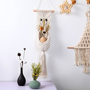 Wholesale ideas for decor resale online - Wall Holder Flowers Key Storage Organizer Cotton Rope Hanging Pocket Boho Home Decor Art for Apartment Living Room Bedroom Woven Decoration Beautiful Gift Ideas