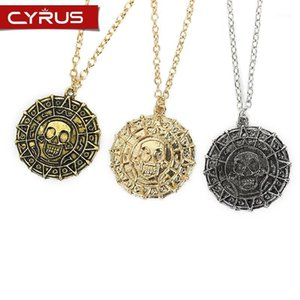Wholesale pirate coin necklace resale online - Classic Pirate Necklace For Women Men Couple Pendant Aztec Gold Coin Movie Periphery Accessories Statement Sweater Chain1