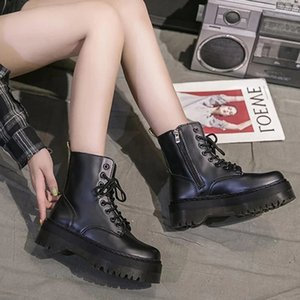 Wholesale shoes side female for sale - Group buy Thick Bottom Platform Punk Boots Female Women Shoes Side Zipper Genuine Leather Ankle Short Boots Motorcycle Zapatos De Mujer