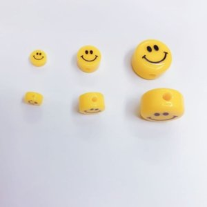 Wholesale girl connectors for sale - Group buy connectors round yellow smiley face polymer clay beads used to make jewelry girl DIY necklace bracelet accessories