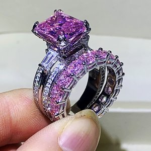 Wholesale pink sapphires rings for sale - Group buy 2020 New Top Selling Luxury Jewelry Sterling Silver Couple Rings Eiffel Tower Princess Pink Sapphire Women Wedding Bridal Ring Set Gift