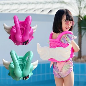 Wholesale inflatable jacket resale online - Children angel wings swimming ring with inflatable vest life jacket baby buoyancy swiming