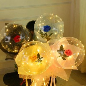 Wholesale girlfriends birthday gift rose for sale - Group buy Luminous Balloon Rose Bouquet Bobo Ball Valentines Day Girlfriend Girl Gift Wedding Birthday Party Decoration Balloons Decorative Flowers