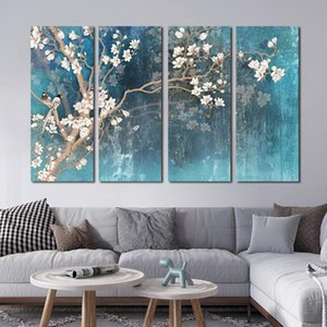 Wholesale canvas art oil painting blossom resale online - Blossoming Almond Flower Tree Oil Painting On Canvas Posters Wall Art Pictures For Living Room Home Decoration