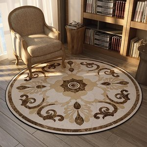 Wholesale floral sofas for sale - Group buy Carpets European Floral Round Carpet Beige Bedroom Rugs And Parlor Corner Area Living Room Sofa Side Anti Slip Floor Mats