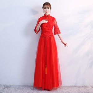Wholesale red chinese tassels for sale - Group buy Red Bride Wedding Party Chinese Dresses Elegant Perspective Mesh Qipao Skirt Plus Size XL Mandarin Collar Tassel Evening Dress Ethnic Cloth
