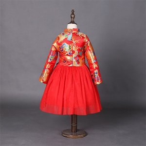 Wholesale chinese style baby clothes for sale - Group buy Retail Girls Dress New Year Chinese Style Dragon Red Dress for Baby Girl Princess Party Dress Kids New Year Gift Children Clothing Y2