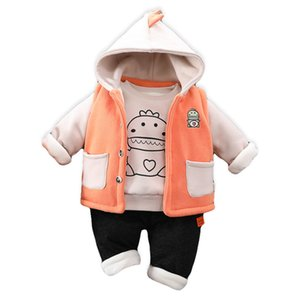 Wholesale cute warm outfit resale online - Baby Girl Boy Autumn Winter Clothes Set Warm Thick Boys Outfit Hooded Jacket Sweatshirt pants Baby Suit Cute Children Clothing