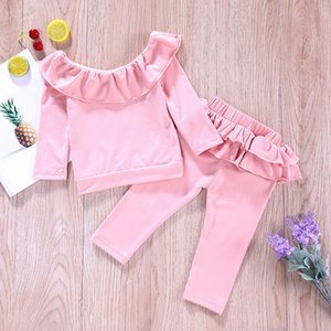 Wholesale cute warm outfit for sale - Group buy 2021 Newest Baby Clothes Sets Spring Autumn Long Sleeve Tops Pants Sets Outfits Velvet Warm Girls Clothing Cute Kids Clothing