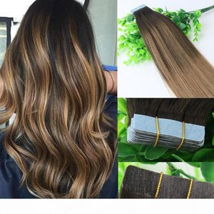 Wholesale taping hair extensions resale online - Ombre Hair Extensions Glueless Tape In Human Hair Extensions gram Brazilian Virgin Hair Balayage Dark Brown Highlight Skin Weft