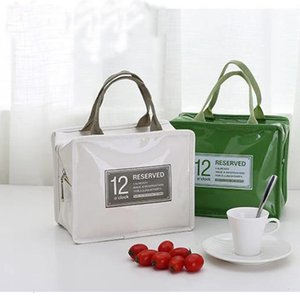Wholesale designer patent bags resale online - Worker Office Lunch Bags Portable Patent Leather Pu Picnic Insulation Ice Bag
