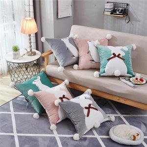 Wholesale polypropylene cotton for sale - Group buy Pure Color Square Cotton Pillow Bolster Bolster including Core Animal Style Lace Case Polypropylene Core