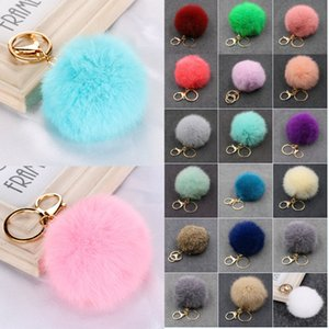 Wholesale men stylish pendant resale online - 8cm Imitate Rabbit Fur Ball Key Rings Holder Lady Stylish Fluffy Pompom keychain Absolutely Love Charm keyring Pendant Gift Kimter P55FA