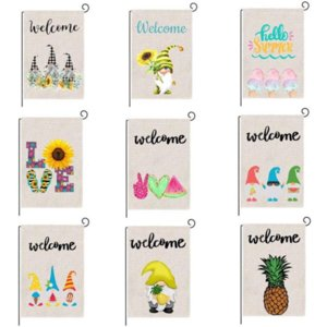 Wholesale outdoor soccer flags for sale - Group buy Summer Garden Flag Fruit Gnomes Collectable Double Size Printed Flax Outdoor Decorative Hanging Welcome Banner CM