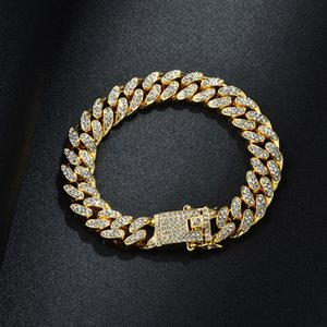 Wholesale mens white gold cuban link chain for sale - Group buy Mens Hip Hop Bracelet Jewelry Iced Out Chain Rose Gold Silver Miami Cuban Link Chains Bracelets