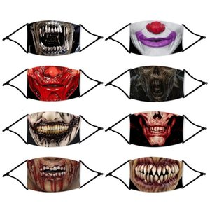 Wholesale scared masks resale online - Scared Mouth Face Masks Halloween Reusable Mascarilla Washable Breathable Respirator With Filter Piece Fashion Cycling Anti Dust zy C2