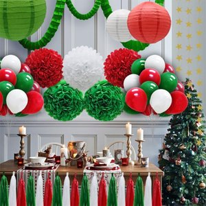 Wholesale tissue honeycomb balls for sale - Group buy Christmas Decoration Red Green White cm cm cm Tissue Paper Honeycomb Balls Set Lanterns Decor Crafts Gift Cycling Caps Masks