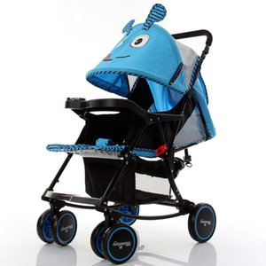Wholesale babies rocking horse resale online - 2021 Cartoon Lovely Baby Stroller Foldable Rocking Horse Can Lie Flat Lightweight Baby Pushchair Household Outdoor Caravan