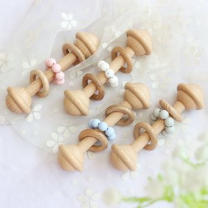 Wholesale baby ring rattles resale online - New Baby Wooden Teether Rattles Teething Nursing Soother Beads Ring Toddler Molar Toys Rainbow Christmas Gift Kids Pacifier V2