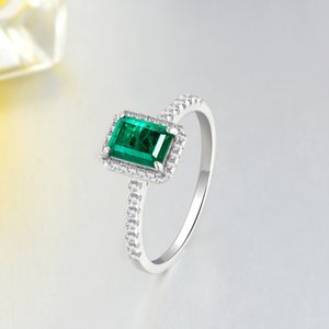 Wholesale copper emerald jewelry resale online - Shipei Jewelry Simple Emerald Princess Fang Ring Proposal Engagement VPDP57