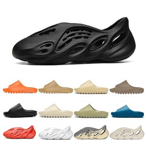 Wholesale slip covers resale online - kanye Sandals slip on Bone slide foam runner men women slippers Enflame Orange Royal Blue sandal Desert sand Resin Moon Grey Earth Brown triple black white womens