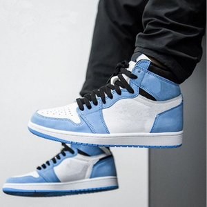 ingrosso scarpe da tennis navy blu-2021 Jumpman High Og University Blue Silver Toe Mid Night Navy Blue Uomini Scarpe da basket con doppia scatola