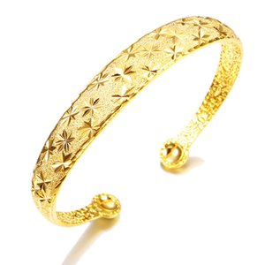 Wholesale yellow gold 18k bangle resale online - Classic Style Womens Cuff Bangle k Yellow Gold Filled Star Carved Womens Bangle Bracelet Fashion Jewelry
