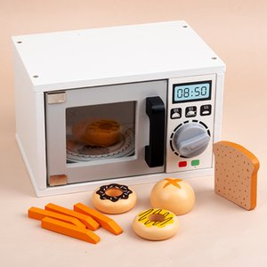 Wholesale toy microwaves for sale - Group buy Children Cooking Simulation Microwave Oven Wooden Toys For Girls Pretend Play Educational Kids Kitchen Toy Set
