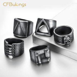 Wholesale stainless steel mats for sale - Group buy CFBulongs L Stainless Steel Viking Punk Retro Ring Triangle Skull Est Mat Solidarity Men s Jewelry Cluster Rings