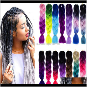 Wholesale ombre kanekalon hair resale online - Bulks Products Drop Delivery Synthetic Ombre Braiding Extensions Kanekalon Crochet Braided Twist G Inch Two Tone Braid Hair For Bl