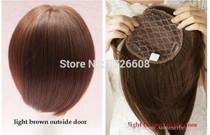 Wholesale short straight hair extensions for sale - Group buy New Full Density Lace Hair Closure Straight Hair Extension Silk Base Short Bob Cut Hairstyle Free Part Clip in Hair Toupe