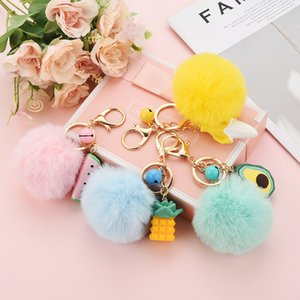 Wholesale pompom keychain faux fur resale online - Fashion Faux Fur Ball Pompoms Key Rings Lovely Geometry Fruit Keychain Colorful Fluffy Plush Keyring Holder Jewelry Pendant Kimter P116FA