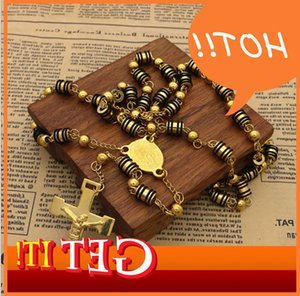 Wholesale white rosary resale online - Hot Sell Mens Rosary Pendant Necklace Charms Black With White Steel Bead Chain Beckham For Men Women Fashion Jewelry