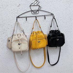 Wholesale bucket parts for sale - Group buy Fashion Women Duet Fabric Bucket Bags Metal Parts Leather Single Handle Nylon Material Cross Body Shoulder Bag Handbag