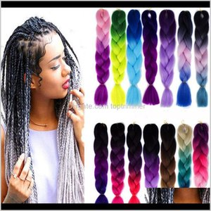 Wholesale ombre kanekalon hair for sale - Group buy Bulks Products Drop Delivery Synthetic Ombre Braiding Extensions Kanekalon Crochet Braided Twist G Inch Two Tone Braid Hair For Bl