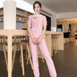 Wholesale massage pants resale online - Beauty Salon Women Working Wear Short Sleeve Sauna Foot Bath Uniform Suits For Spa Massage Female Work Clothing Sets Women s Two Piece Pants