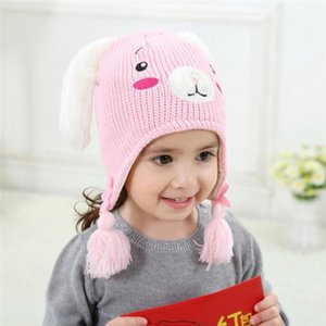 Wholesale thick girls resale online - Winter Cartoon Girls Hats Cute Ears Children Thick Baby Caps Beanies Autumn Warm Wool
