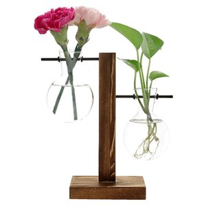 Hydroponic Plant Vases with Retro Wooden Frame Creative Tabletop Hydroponics Plants Glass Bulb Vase for Home Garden Office Wedding Decoration