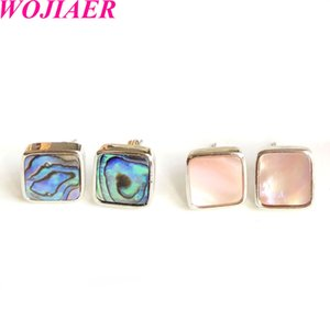 Wholesale ear studs jewellery for sale - Group buy Natural Seashell Stud Earrings Square Pink Black White Earring for Women Healing Fashion Ear Jewellery Gifts DBV938