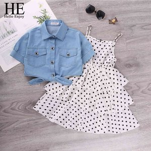 Wholesale teenagers girls clothing for sale - Group buy Teenagers Girls Clothing Sets Summer Dot Sling Princess Dress Denim Blouse Clothes For Girl Years
