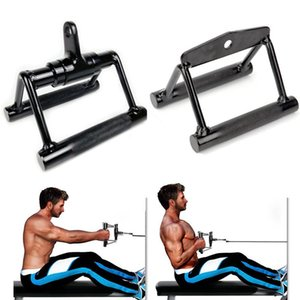 Wholesale row cable resale online - Fitness Home Gym Barbell V Bar Rotatable Cable Machine Handle Attachments Rowing Pull Down Exercise Handles Accessories