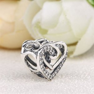 Wholesale 925 sterling silver pandora charms resale online - Fit Original Pandora Charms Bracelet Sterling Silver Sparkling Entwined Hearts Charm Beads Women DIY Jewelry Making Berloque Q2
