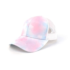 Wholesale trucker caps women resale online - Tie Dye Print Women Ponytail Baseball Cap Snapback Hip Hop Hats Summer Mesh Trucker Hat Fashion Sun Protection Girls Cotton Caps