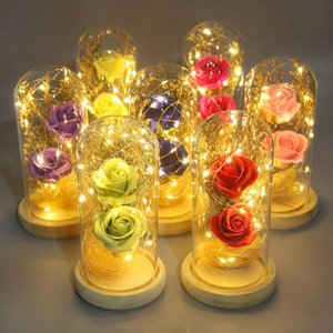 Wholesale beauty beast rose glass resale online - Artificial Eternal Rose LED Light Beauty The Beast In Glass Cover Christmas Home Decor For Mother Valentines Day Year Gift Table Lamps