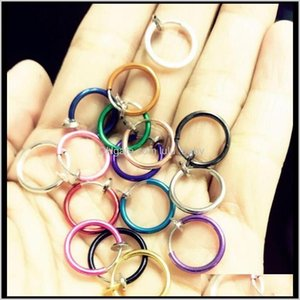 Wholesale drop ear rings for sale - Group buy Rings Studs Delivery Fake Nose Hoop Ring Ear Septum Lip Navel Earrings Body Non Piercing Black Jewelry Drop Ps2865 B3Ylk