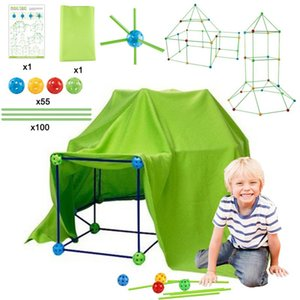 Wholesale tent tunnels for kids resale online - Kids Construction Fort Building DIY Kit For Build Castles Tents Rockets Tunnels Play Set Dollhouse Party Favor