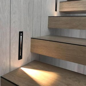 Wholesale recessed wall night light for sale - Group buy 1pcs Smart Motion Sensor Night Light LED Stair Radar Recessed Embedded Wall Lamp Corner Corridor Hallway Pathway Outdoor Lamps