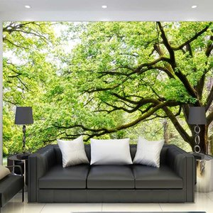 Wholesale black green wallpapers for sale - Group buy Custom Wallpaper Mural Black And White Literary Style Rainforest Green Tree Nature Nordic TV Sofa Background Walls D Wallpapers