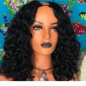 Wholesale wet wavy virgin human hair wigs resale online - 1 Middles Part U Part Wigs Virgin Human Hair Wigs For Black Women Wet And Wavy Brazilian Upart Wig